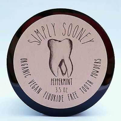 3.5oz Jar PEPPERMINT Vegan Organic Fluoride Free Remineralizing Tooth Powder