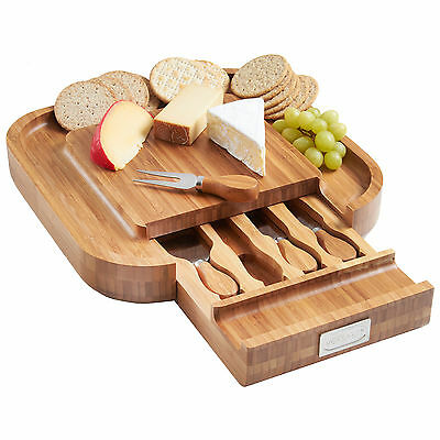 VonShef Square Wooden Cheese Board & 4pc Knife Set with Slide Out Drawer