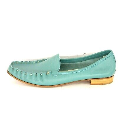 Henry Beguelin Ladies Shoes Moccasins Ballerinas Size 41 Leather Blue Np 295 New
