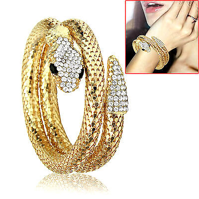 Gold Schlange Armband (Armband, Armreif *Schlange* Wickelarmband, Kristalle, goldfarben, silberfarben)