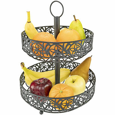 Countertop Two Tiered Fruit Basket Ornate Black Metal Shabby Chic Accent - Black Metal Basket