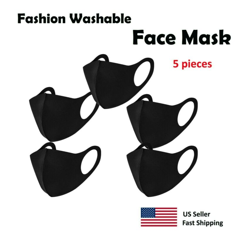 5 pack - Black Face Mask , Washable, Reusable, Unisex, Free Same Day Shipping