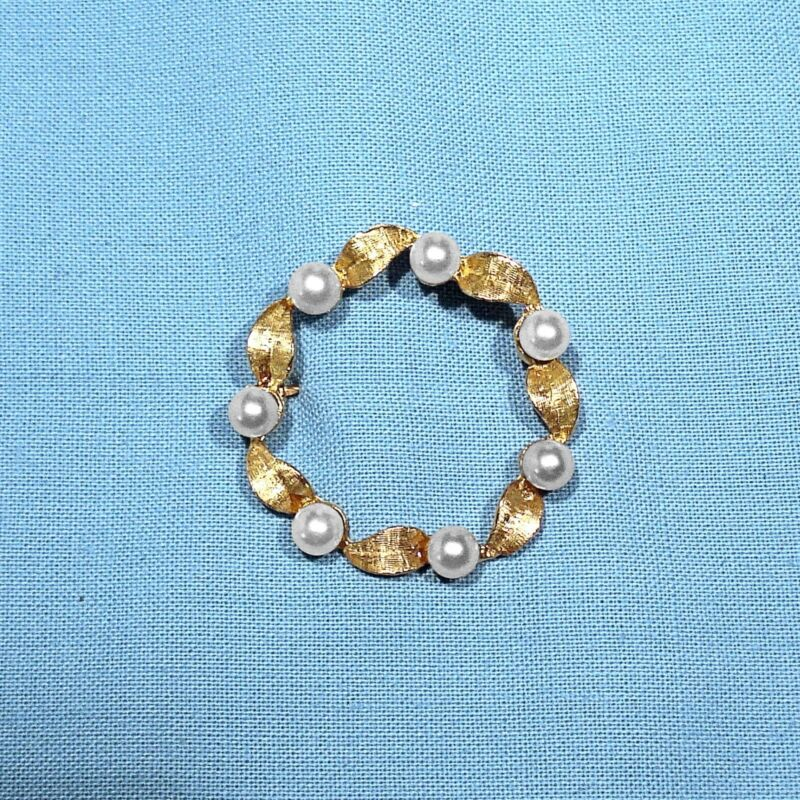 SOLID 14K YELLOW GOLD & PEARLS BROOCH / PIN