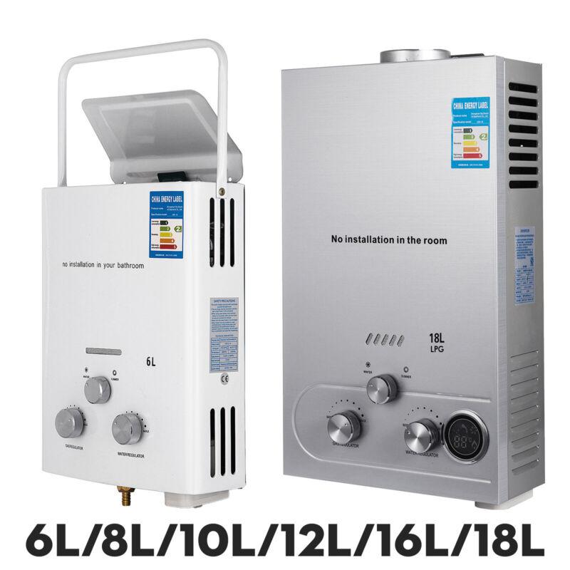 6L/8L/10L/12L/16L/18L LPG Propane Gas Hot Water Heater Tankless W/ Shower Kit