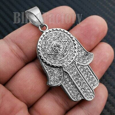 HIP HOP STAINLESS STEEL ICED FASHION LAB DIAMOND HAMSA HAND PENDANT S-05