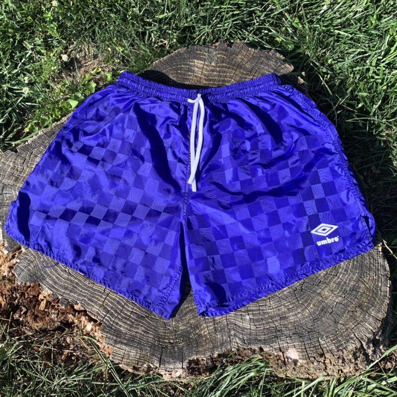 Vintage Umbro Checkered Shiny Blue Soccer Shorts XL  80s