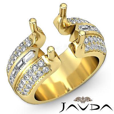 - Pave Channel Set Diamond Engagement Ring 18k Yellow Gold Round Semi Mount 1.15Ct