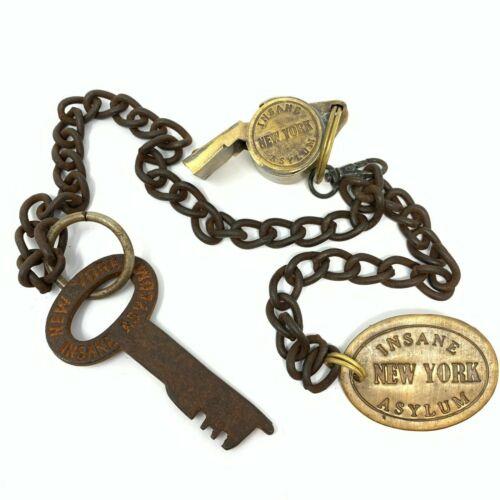 New York Insane Asylum Guard Iron Cell Key, Tag & Solid Brass Whistle