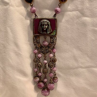 ANTIQUE OLD NEIGER EGYPTIAN REVIVAL KING TUT PHARAOH BEADS GLASS DANGLE NECKLACE