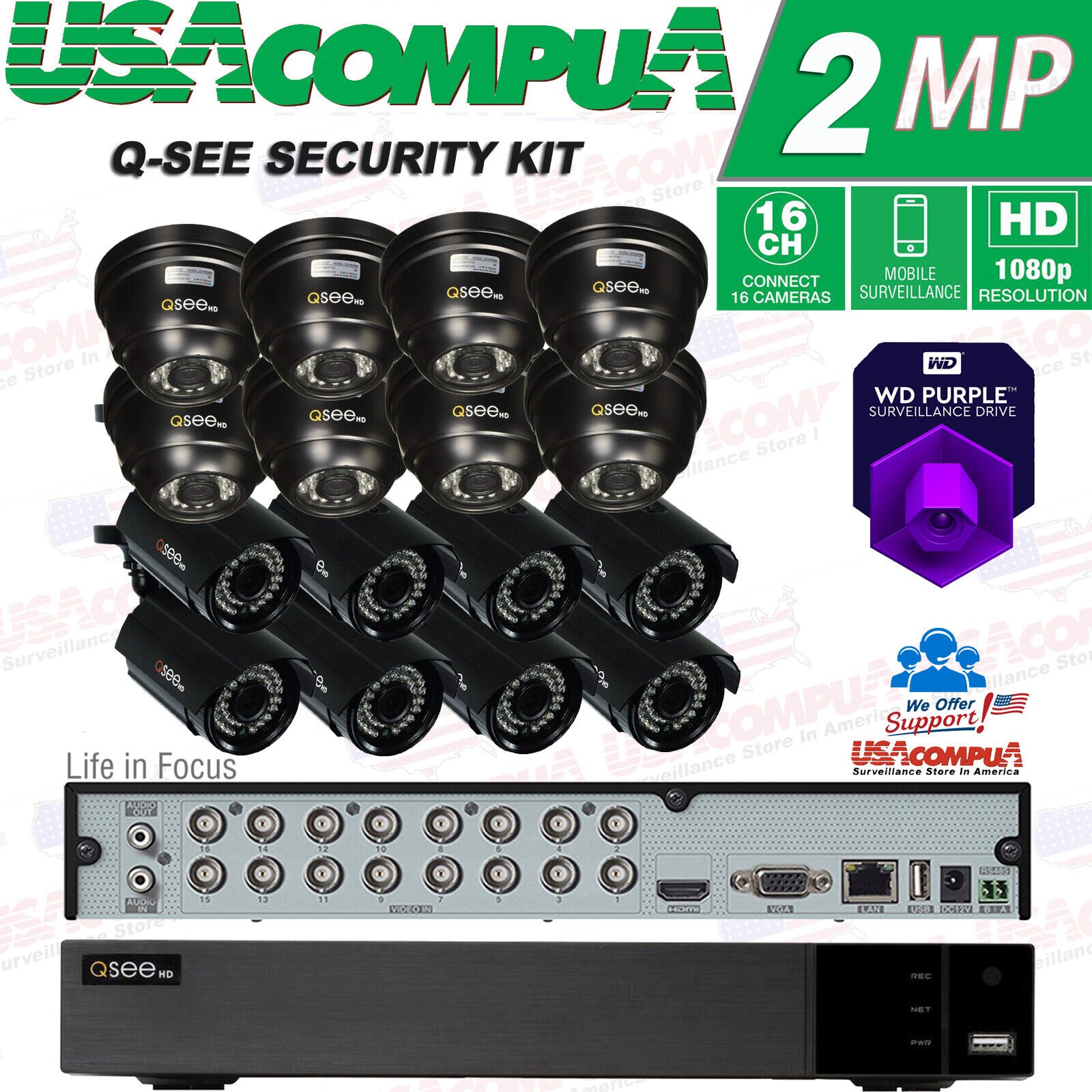 Q-See 16 Channel 1080p Analog DVR  Security Cameras System C