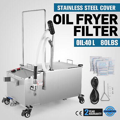 40l Oil Filter Oil Filtration System Cart Stainless Steel Shop Fryer Filter 300w