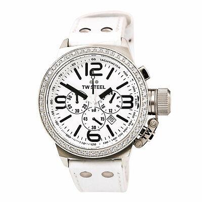 TW Steel Men's Watch Canteen Diamond Chronograph White Dial Leather Strap TW10