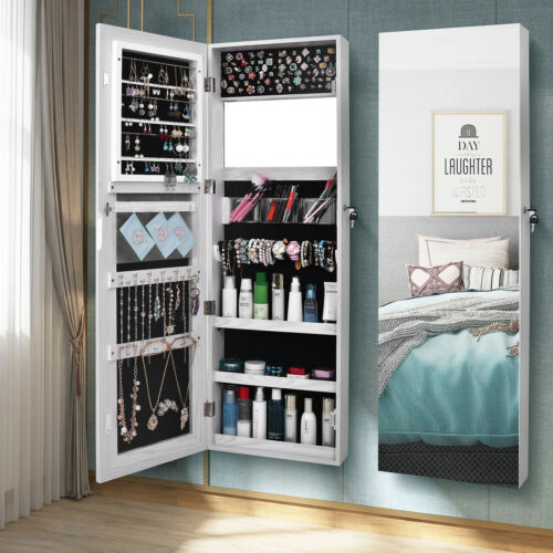 Wall Door Mounted Mirrored Jewelry Cabinet Armoire Storage O