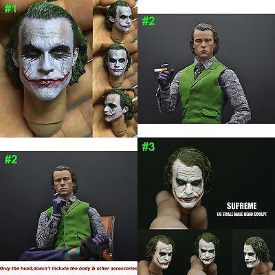 1/6 Scale Heavy Makeup Joker Heath Ledger Head Sculpt For 12'' Male Figure - Joker Heath Ledger Makeup