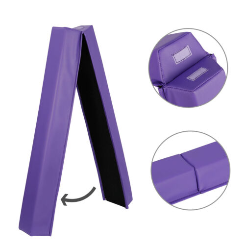 6ft Purple Balance Beam Extra Firm Vinyl Folding Gymnastics Beam for Home Equipment