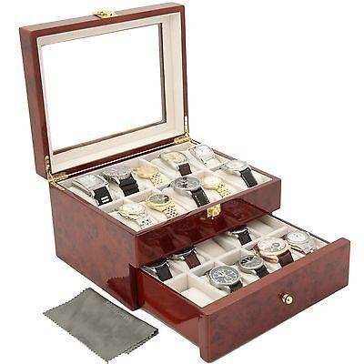 SALE Watch Box Storage Case 20 Watches Burlwood Finish Glass High Quality