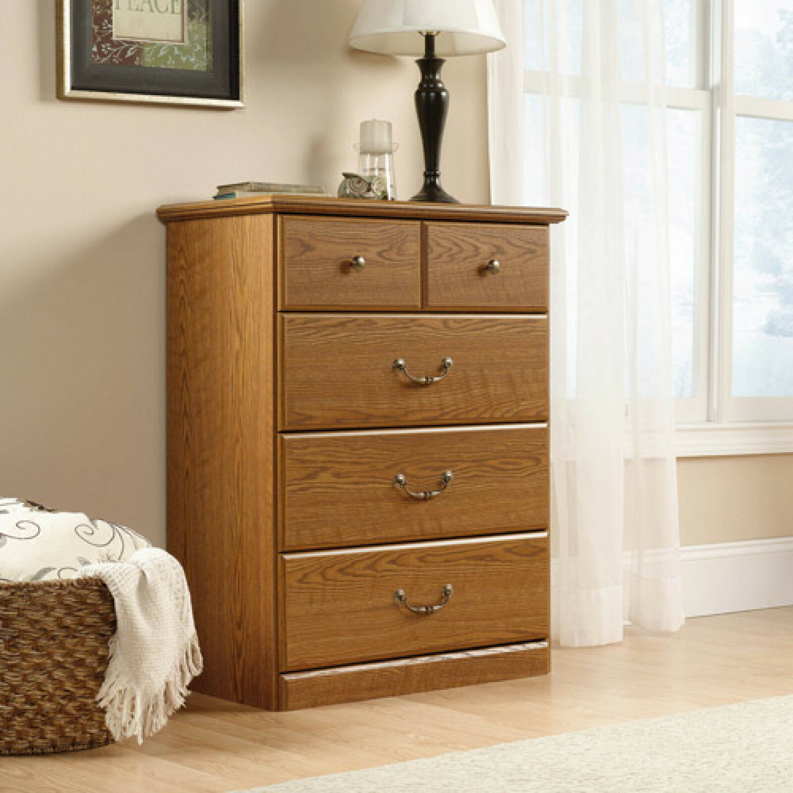 Details About 4 Drawer Dresser Chest W Decorative Handle Bedroom Furniture Tv Stand Wood