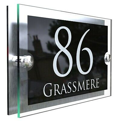 Contemporary House Sign Plaques Door Number 1 - 9999 Personalised Name Plate House Door Signs