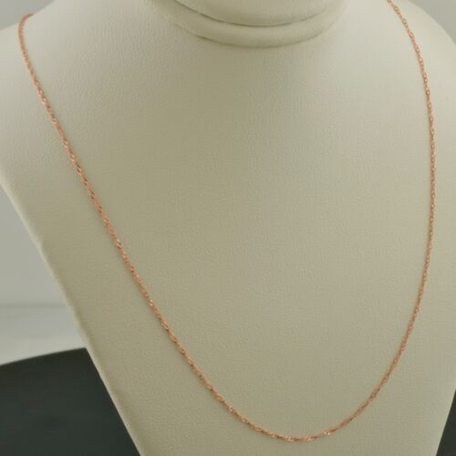 10K ROSE GOLD .7MM SINGAPORE 16 INCH PENDANT CHAIN NECKLACE
