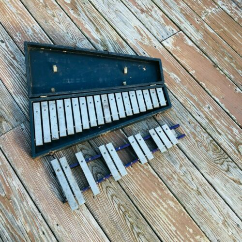 "Antique xylophone 22"" with case vintage 1"" key width"