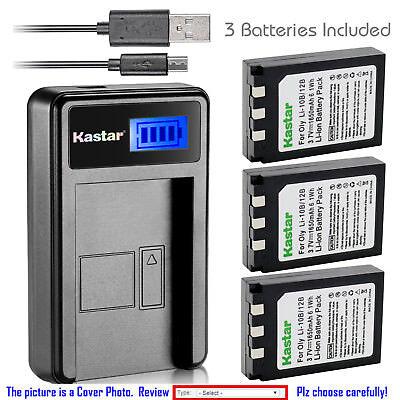 Kastar Battery LCD Charger for Olympus Li-10B & Stylus 810 Stylus 810 Digital