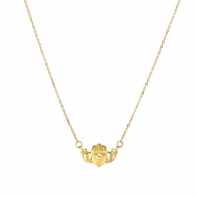 14k Yellow Gold Polished Claddagh Charm Necklace, 17