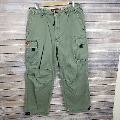 Abercrombie & Fitch Vintage Fatigues Pants Size 33x30 Green Cargo Paratrooper