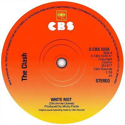 The Clash White Riot record label sticker. Punk
