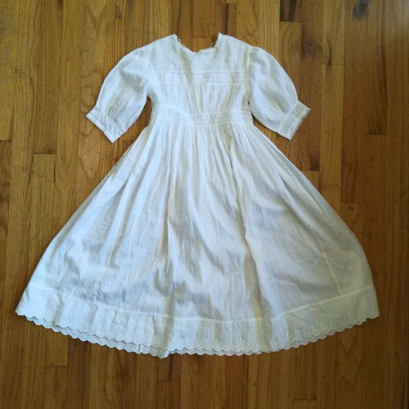 Vintage 1900s Edwardian Antique Nightgown White Embroidered Dress Size Small
