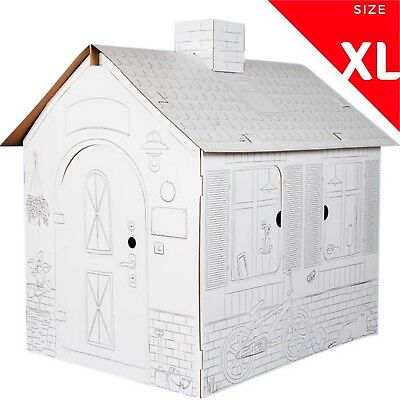 XL Size Kids Cardboard Playhouse Color Your Toy For House Children DIY Durable