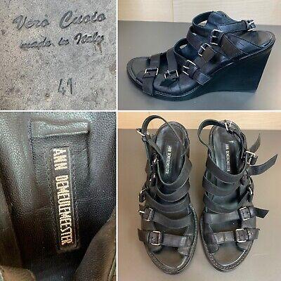 "ANN DEMEULEMEESTER sz 41 ""Blanche"" Sandals Open Toe Gladiator Boot Wedge Black"