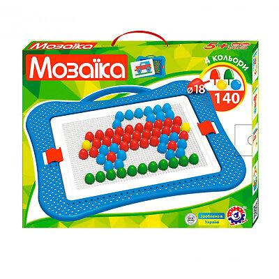 Mosaik-Spiel für Kinder 140tlg Steckspiel Steckmosaik Steckpins Steckkugeln  ()