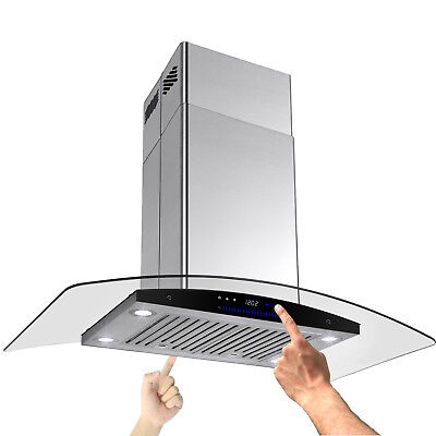 "Best Curve Kitchen 36"" Glass Island Stainless Steel Ventless Range Hood Stove"