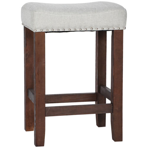 Nailhead Wood Pub-Height Kitchen Counter Bar Stool Backless 24″ Beige Brown Benches, Stools & Bar Stools