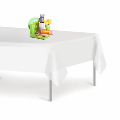 Disposable Tablecloths (White 12 Pack Premium Disposable Plastic Tablecloth 54 Inch. x 108 Inch.)