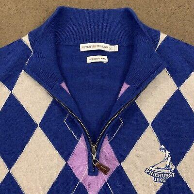 Men's PETER MILLAR Multicolor Argyle Wool PINEHURST Golf Sweater Vest XL NWOT