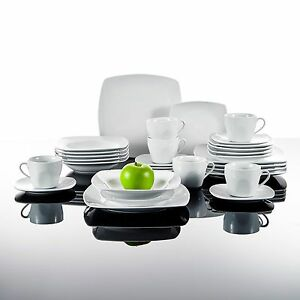 30PCS Square Porcelain Crockery Ceramic Dinner Service Sets Cups Plates JULIA