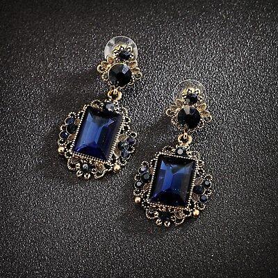 4fa06c684a66 Pendientes De broche Agujereado Dorado Azul Marino Cristal Gota Retro B1