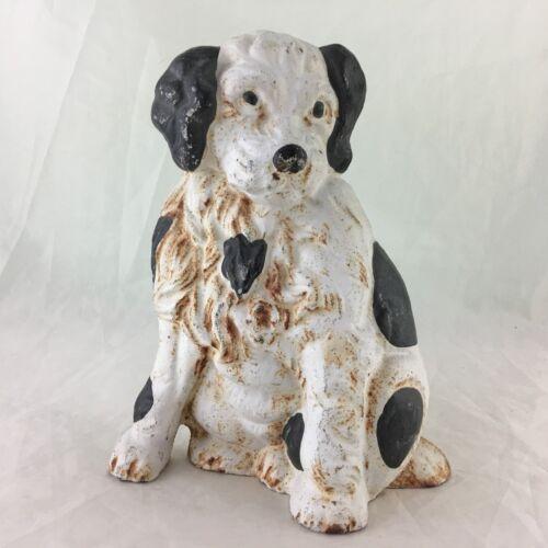 VINTAGE DALMATIAN DOG PUP PUPPY METAL DOOR STOP STOPPER PAINTED BLACK WHITE