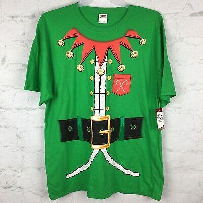 Elf Christmas Shirt Mens 2XL tshirt costume green ugly sweater funny santa Xxl](Mens Christmas Elf Costume)