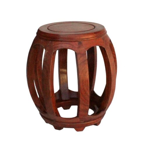Chinese Oriental Brown Stain Wood Curved Barrel Shape Stool ws191