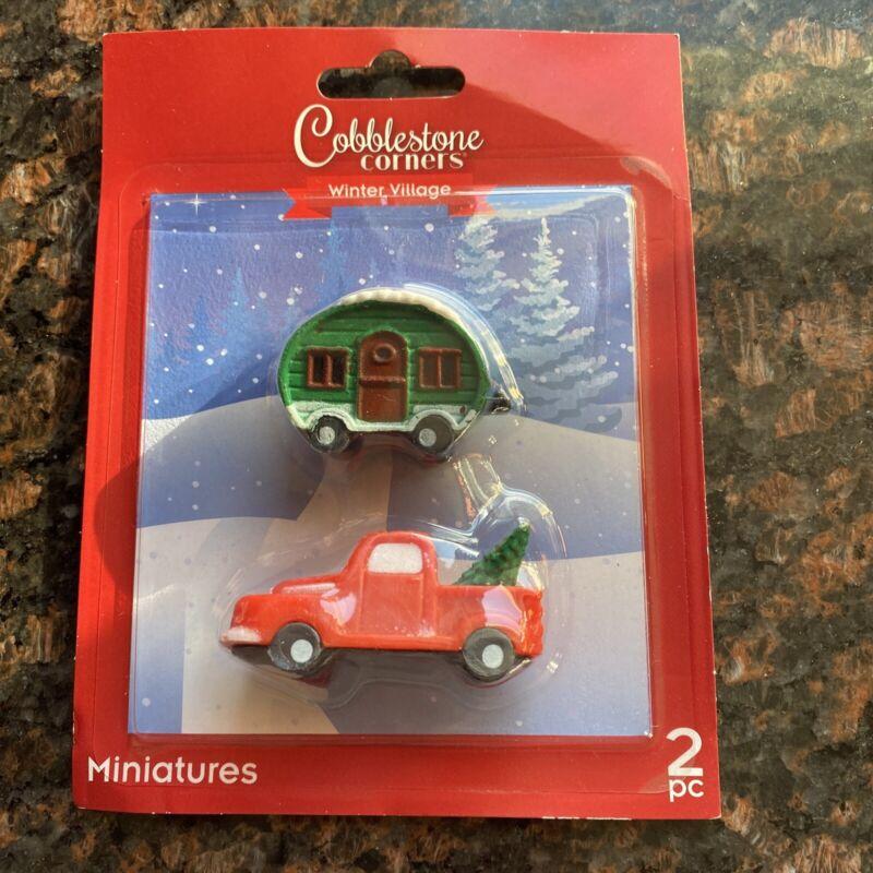 COBBLESTONE CORNERS 2021 CHRISTMAS VILLAGE Red Truck & Green Trailer