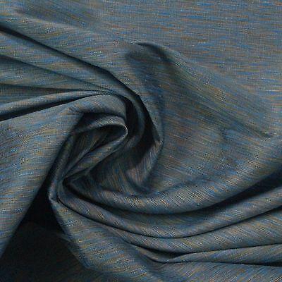 P KAUFMANN SITARA STREAM BLUE GOLD SHIMMER FAUX SILK WOVEN FABRIC BY YARD 54