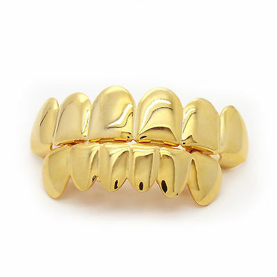 14K Gold Plated Hip Hop Teeth Grillz Top & Bottom Grill Set *NEW HIGH QUALITY!!*