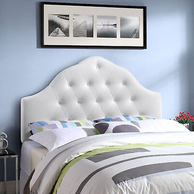 High Arched Button-Tufted Upholstered Faux Leather King Size Headboard in White King Size Leather Headboard