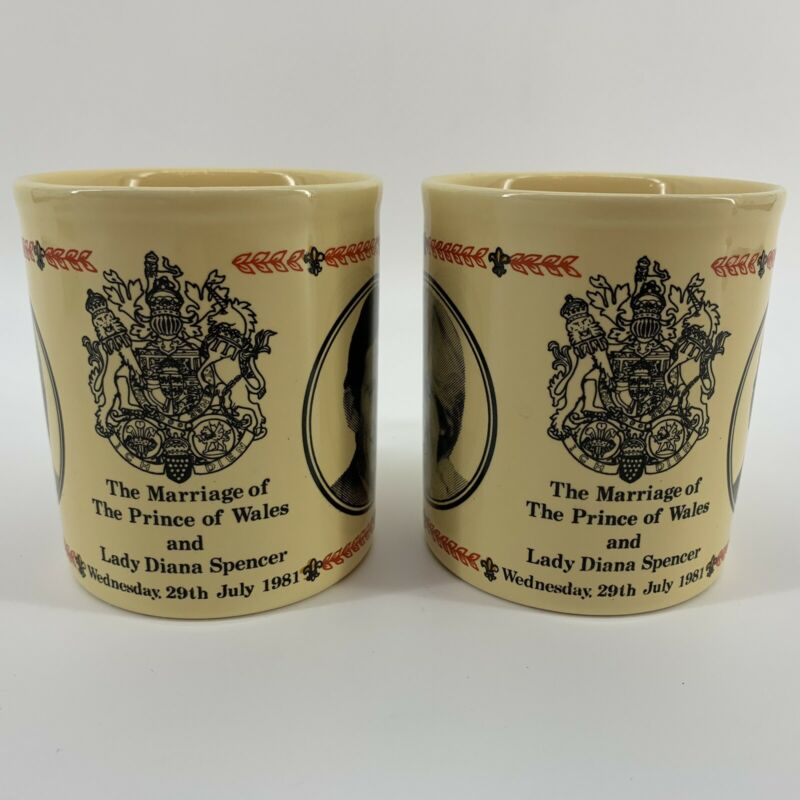 2 Vintage Royal Wedding Commemorative Mugs Prince Charles Lady Diana Kiln Craft
