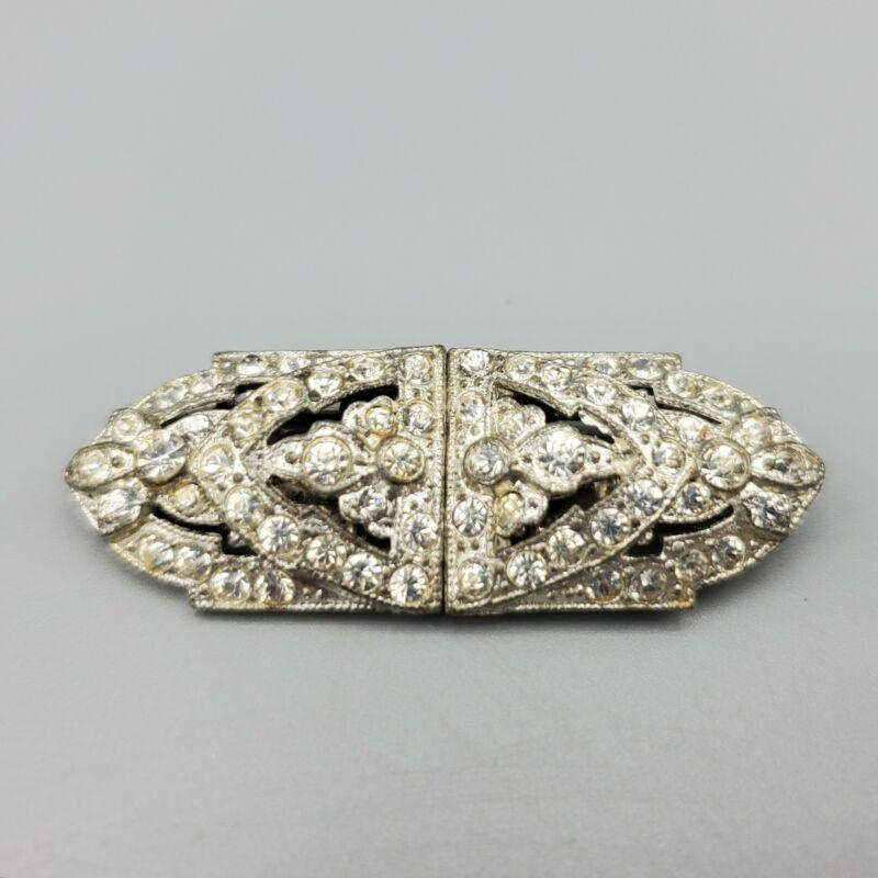 Vintage Art Deco Rhodium Plated Clear Chaton Rhinestone Duette Dress Clip Brooch