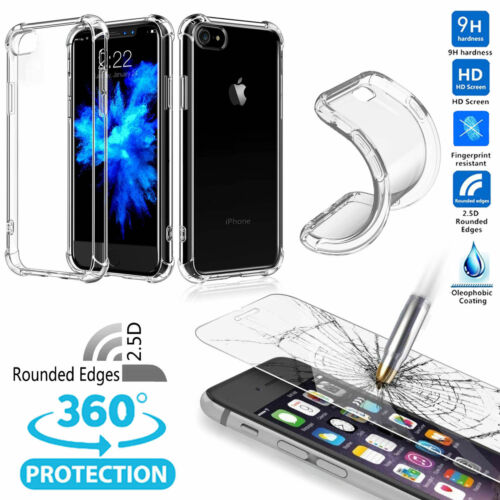 Shockproof 360°Matte Bumper Slim TPU Case skin cover + Glas