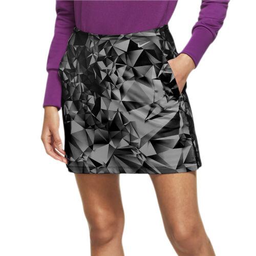 "NIKE Womens Dri-FIT UV 17"" Victory Print Golf Skort Skirt, Gray, Size M Medium"