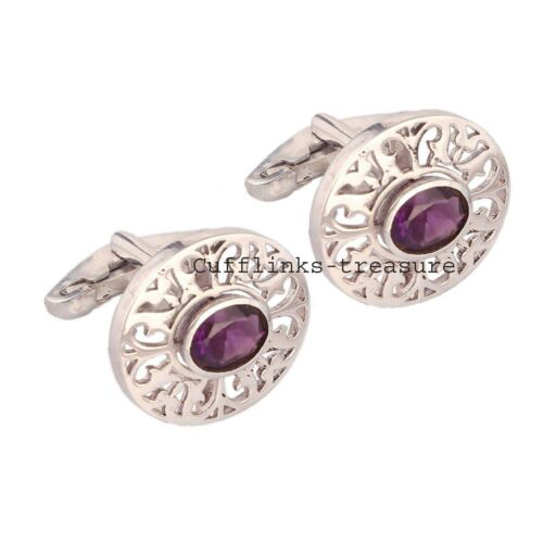 Natural Amethyst Gemstone With 925 Sterling Silver  Cufflinks For Men